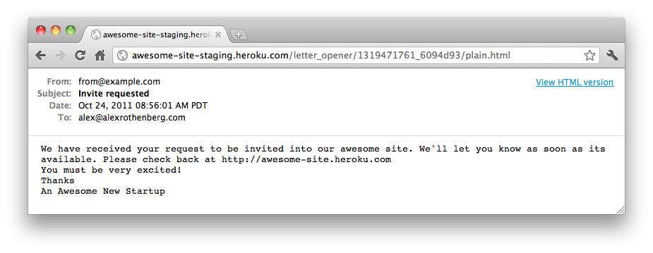 Previewing an Email with Letter Opener in Development