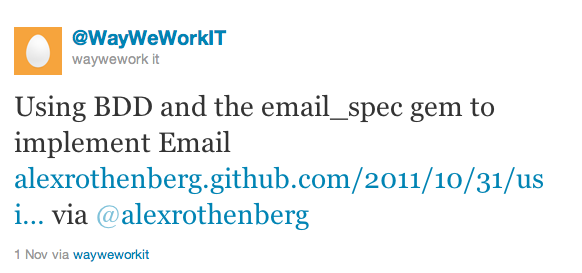 Using BDD and the email_spec gem to implement Email www.alexrothenberg.com/2011/10/31/usi… via @alexrothenberg